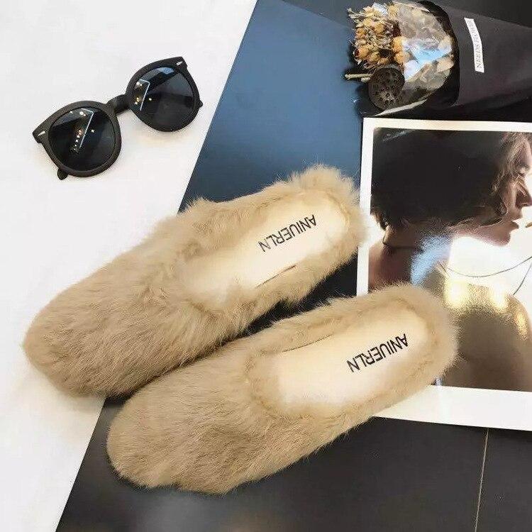 Для женщин с кроличьим мехом тапочки бездельник Шлёпанцы пляжные сандалии модные женские уличные Летняя обувь удобные плюшевые меховые шл...