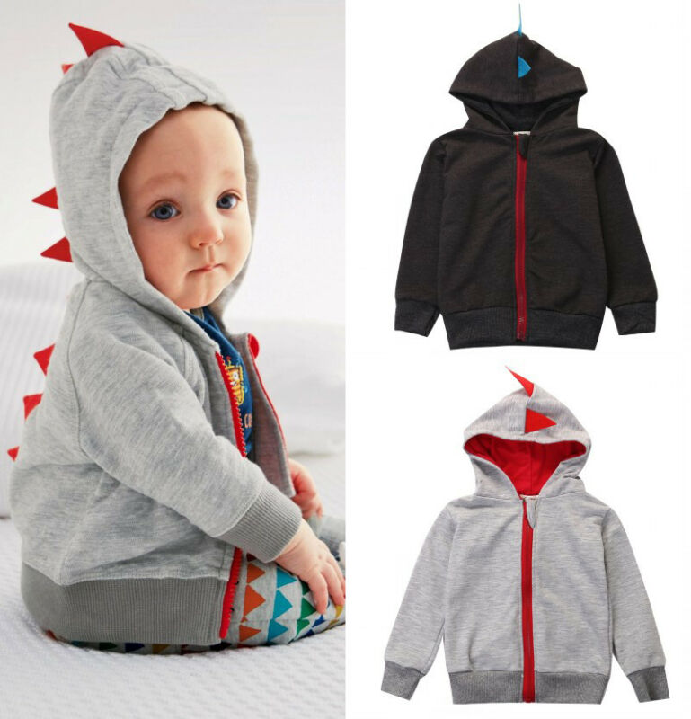 Baby Infant Kid Boy Cartoon Dinosaur Zipper Hoodie Tops Jacket Coat Outwear 0-3Y Autumn Winter Outerwear