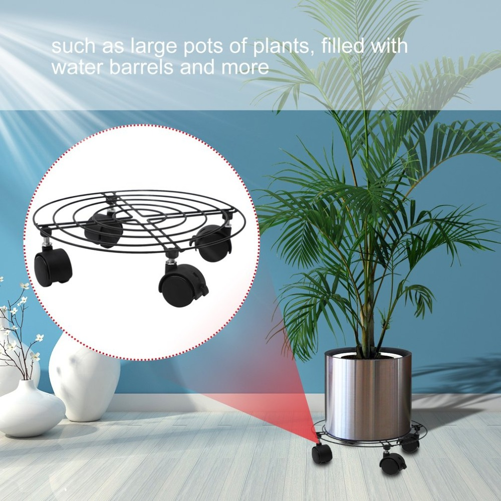 3PCS Home Decoration Plant Pot Round Wheels Mover Trolley Caddy Garden Plate Iron Stand Storage Holder Organizer flourishing round plant stand