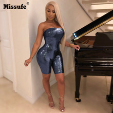 c76d47c1bd8 Missufe Strapless Zipper Slim Sexy Jumpsuit Backless Skinny Sequins Playsuit  Casual Rompers Club Party Blue Brown Overalls Women