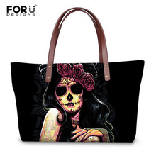 Forudesigns Day Of The Dead Sugar Skull Pattern Handbags Casual Women High Quality Tote Bags