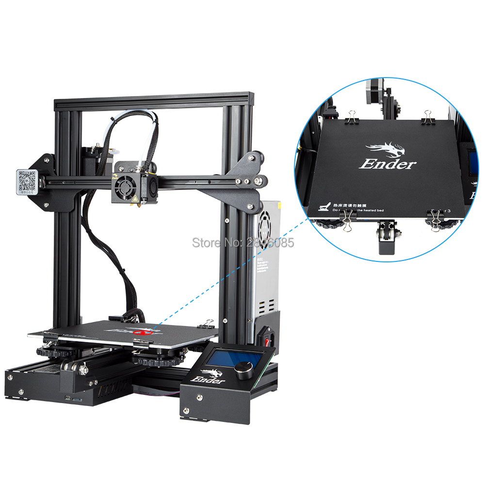Image 3 - CREALITY 3D Printer Ender 3/Ender 3X Tempered Glass Optional,V slot Resume Power Failure Printing DIY KIT Hotbed-in 3D Printers from Computer & Office