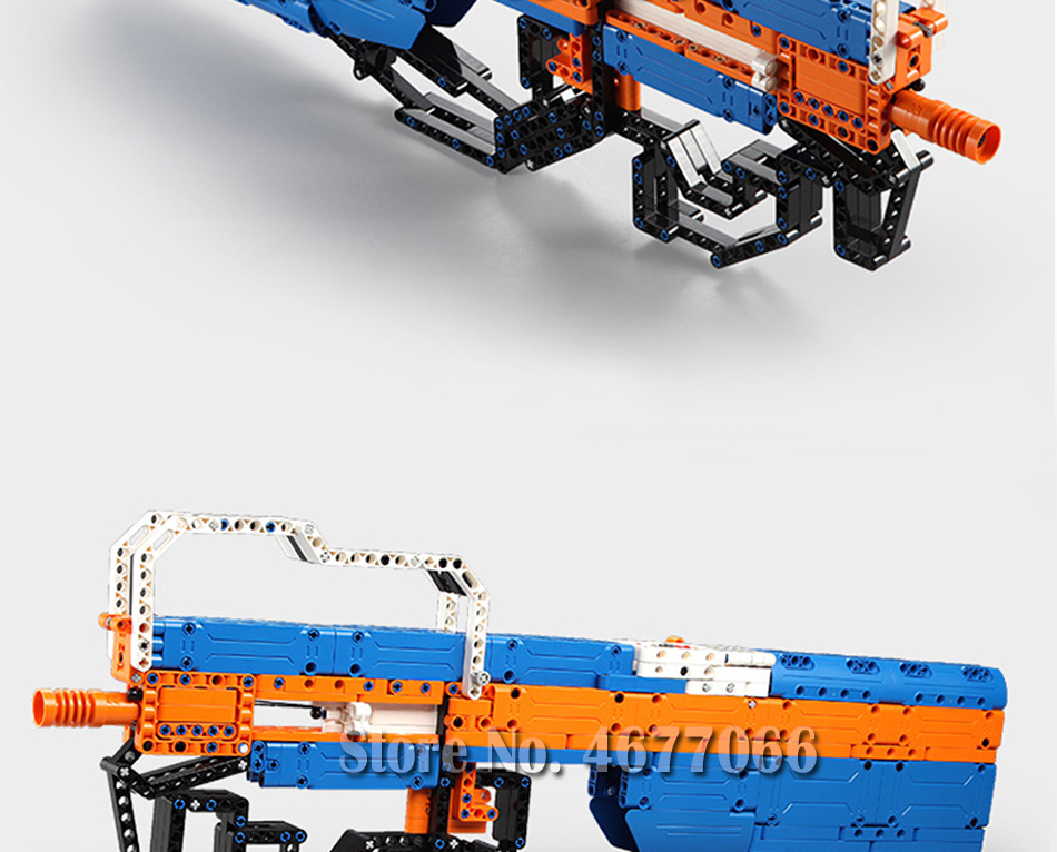 building blocks P90 Assualt Rifle gun  military bricks weapon set can fire  rubber band  toy for children boys 18