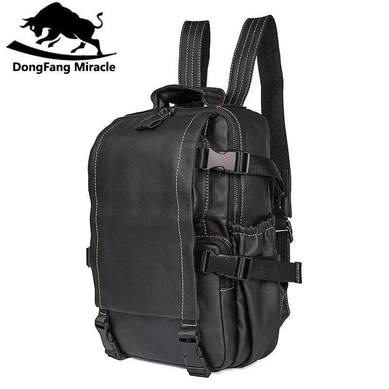 Homme sac à dos 100% en cuir véritable homme sac de haute qualité unisexe sac à bandoulière femmes école voyage ordinateur portable sac à dos-in Sacs à dos from Baggages et sacs    1