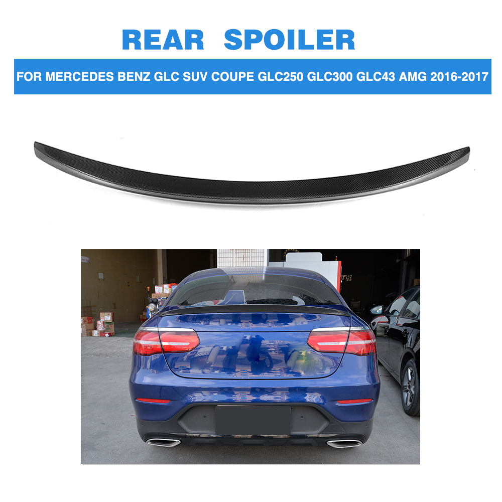 Carbon Fiber Car Rear Spoiler Boot Wing Lip For Mercedes Benz GLC Class X253 SUV 4 Door GLC43 AMG GLC30016-17 FRP Unpainted carbon fiber rear roof spoiler window wing frp black for mercedes benz c class s205 wagon hatchblack 4 door 15 18 not for amg