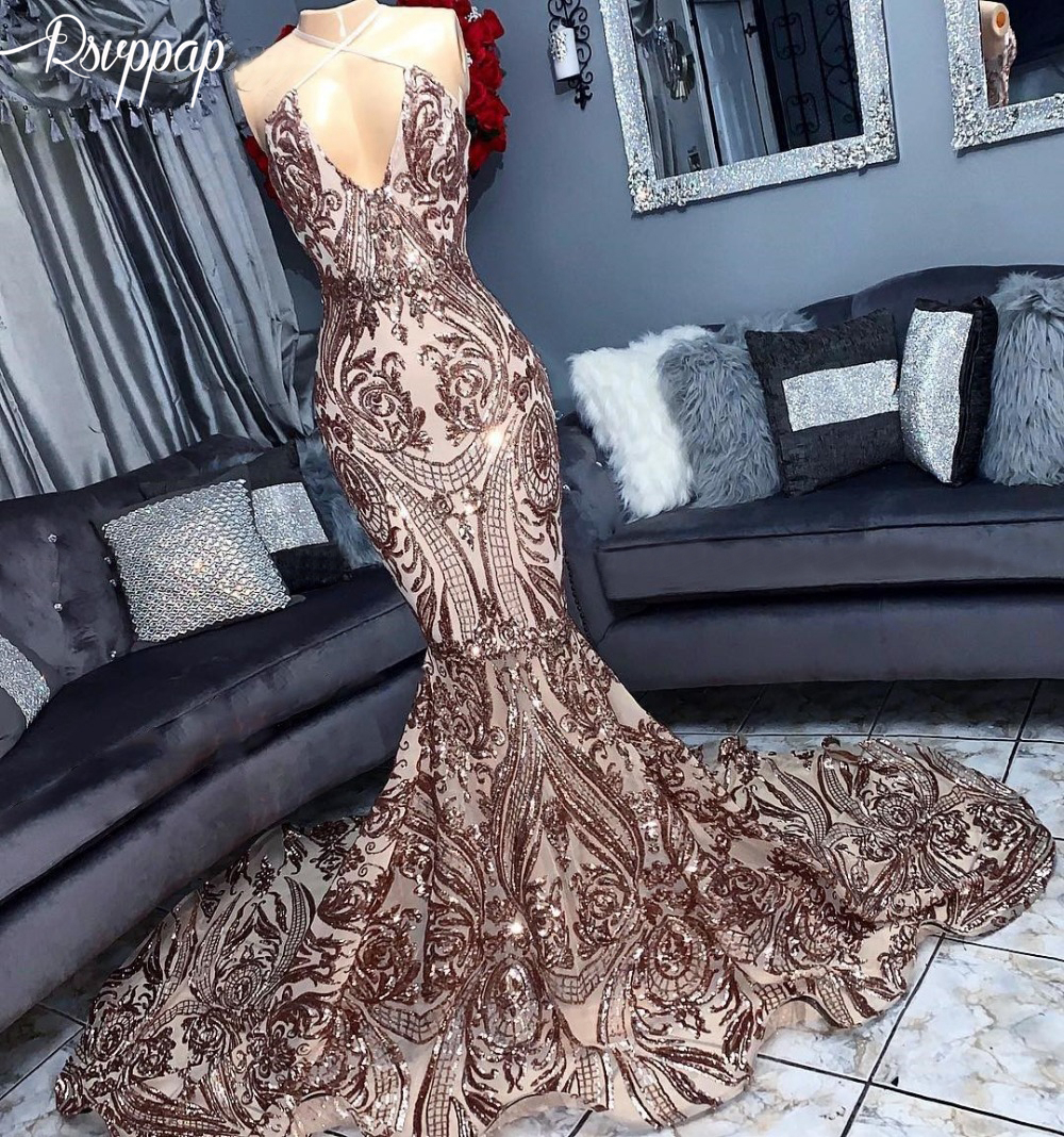 Luxury Long Mermaid Sexy Prom Dresses 2019 V Neck Sparkly -2221