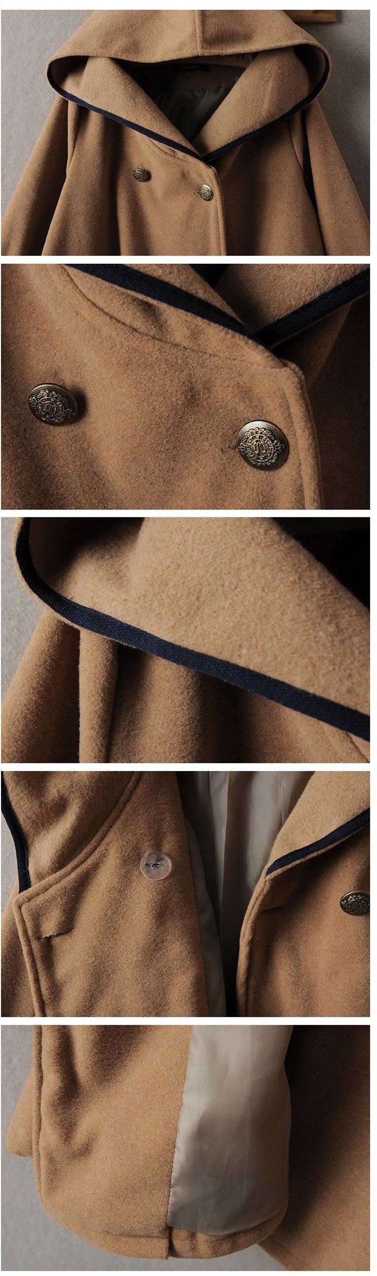 Новинка зимы, винтажный шерстяной плащ в консервативном стиле, матросское темно-синее пальто, верхняя одежда, Женская свободная красная однотонная Осенняя накидка