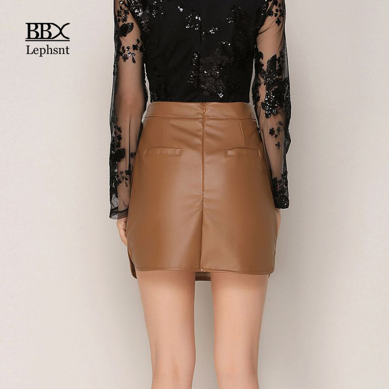 BBX Lephsnt Sexy PU Leather Short Skirt 2018 High Waist Vintage A-Line Woman Skirts Elegant Solid Bodycon Skirt For Women B83076