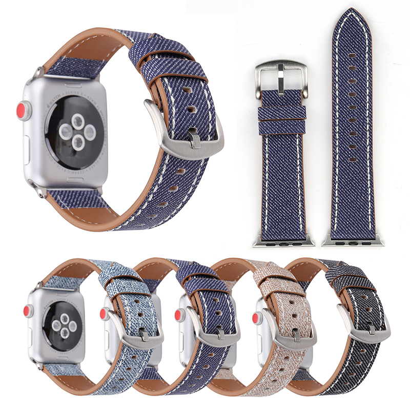 Genuine Leather Watch Band For Apple Watch Wrist Strap Jeans Painted Style Bracelet For Apple Series 1 2 3 Watchbands 38-42mm luxury ladies watch strap for apple watch series 1 2 3 wrist band hand made by crystal bracelet for apple watch series iwatch