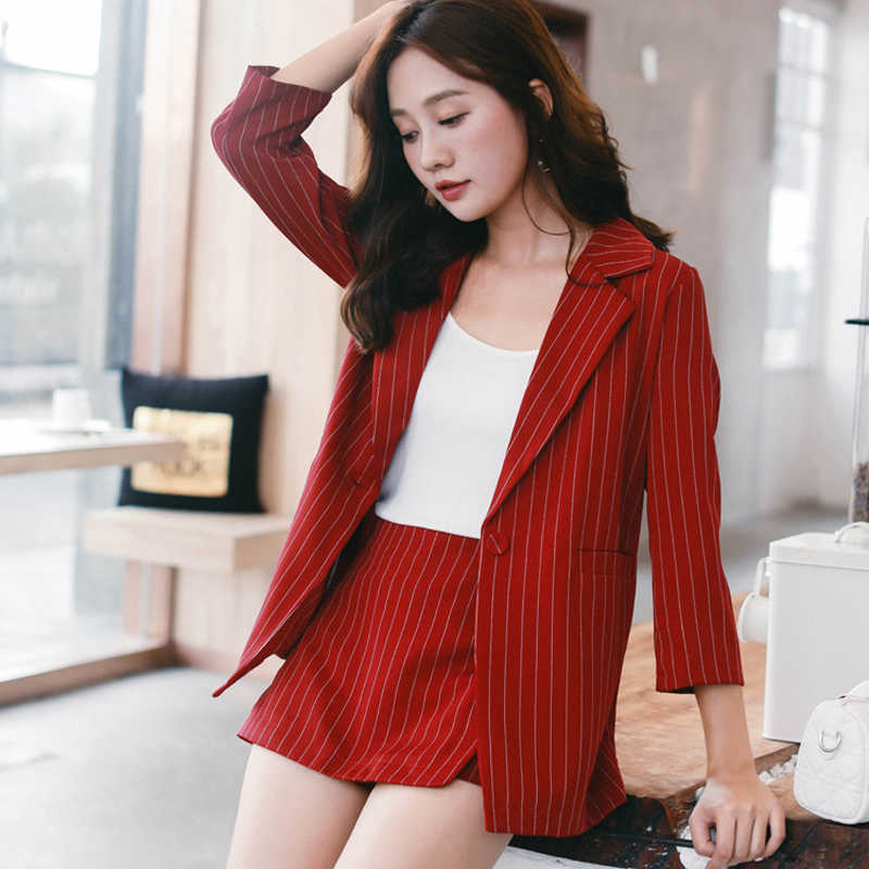 516a0c434d Female Short Suits Striped Pant Suits for Women One Button Notched Collar  Blazer Jacket   Hot