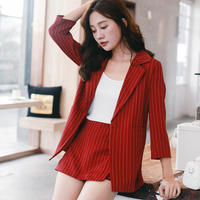 Female Short Suits Striped Pant Suits for Women One Button Notched Collar Blazer Jacket & Hot Shorts Casual 2 Pieces Set 2018