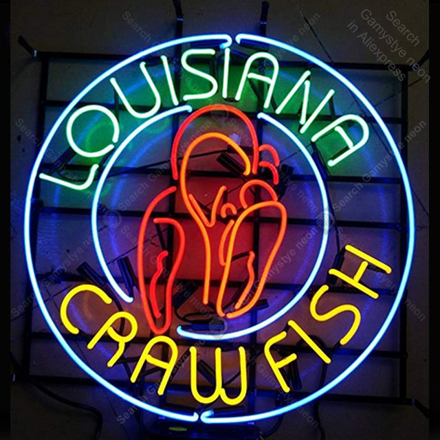NEON SIGN For Louisiana Crawfish NEON Bulbs Lamp GLASS Tube Decor Window Wall Club Restautanr Room Handcraft Advertise wholesale