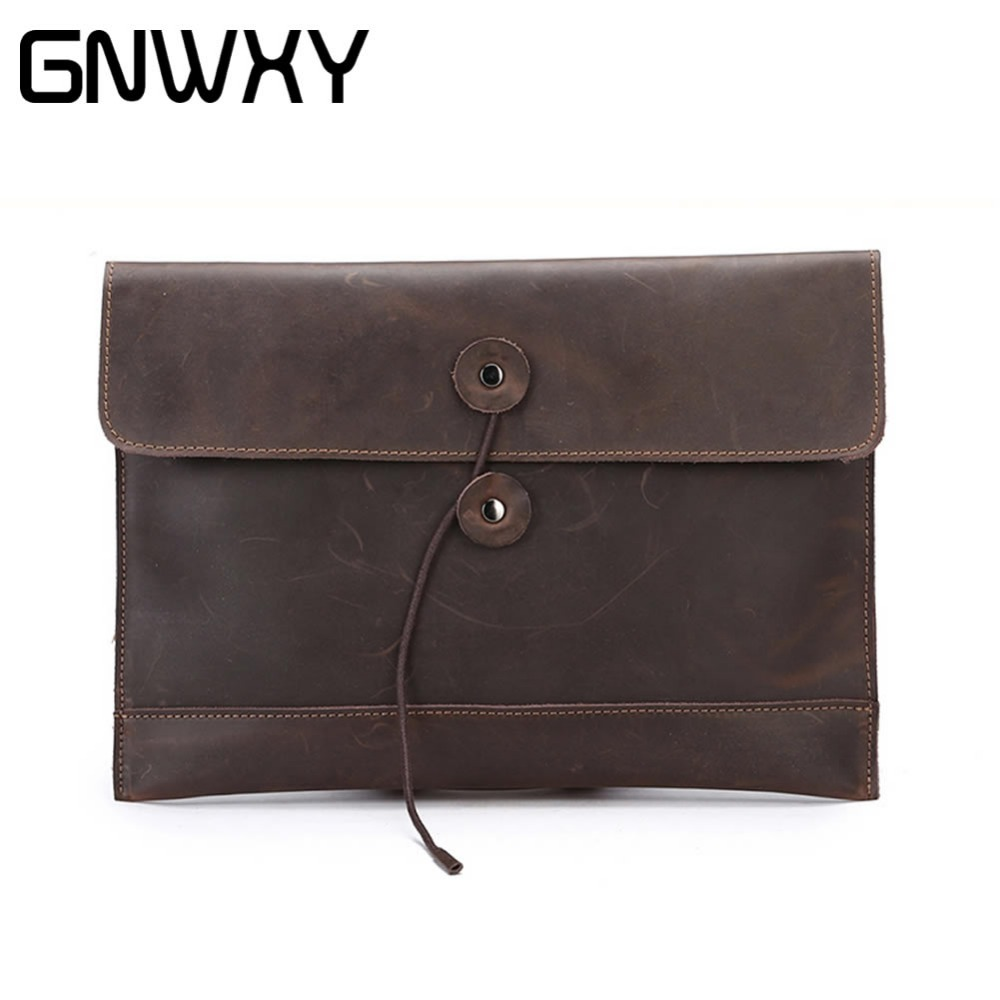 GNWXY Minimalist Design Cowhide Men's Envelope Bag Business File Package Square Briefcase Genuine Leather Clutch For Men Women trendy women s clutch with envelope and twist lock design