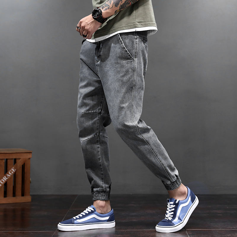 Fashion Streetwear Men   Jeans   Loose Fit Elastic Spliced Designer Cargo Pants Slack Bottom Haram   Jeans   Hip Hop Joggers   Jeans   Men