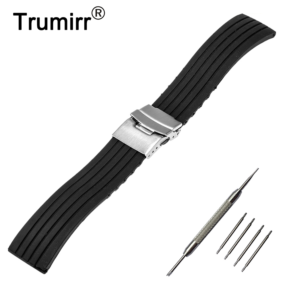 18mm 20mm 22mm 24mm Silicone Rubber Watch Band +Tool for Breitling Stainless Steel Safety Buckle Strap Wrist Belt Bracelet Black stylish 8 led blue light digit stainless steel bracelet wrist watch black 1 cr2016