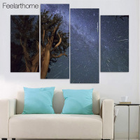 Canvas Painting 4 Pieces Canvas Art Starry Night Meteor Shower Poster Home Decor Pictures For Living