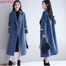 Autumn Winter Elegant Fashion Woolen coat female Plus size Korea long coat of women's cashmere Long sleeve Winter women coat 629(China)