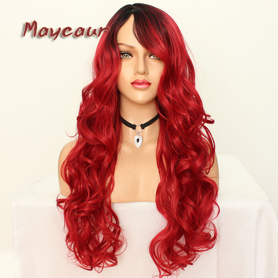 Maycaur Glueless Black Long Wavy Wig with Side Bangs Synthetic Hair Wigs for Women Heat Resistant Fiber Hair Wigs (12)
