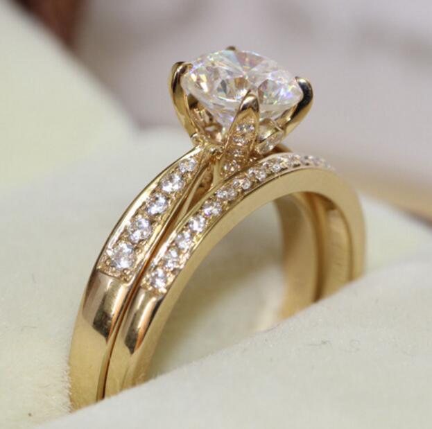 2a4cc0ef1ac8 Genuino 14 k 585 ct Oro Amarillo 1 Quilates Siempre Brillante Cut Anillo de  Compromiso y