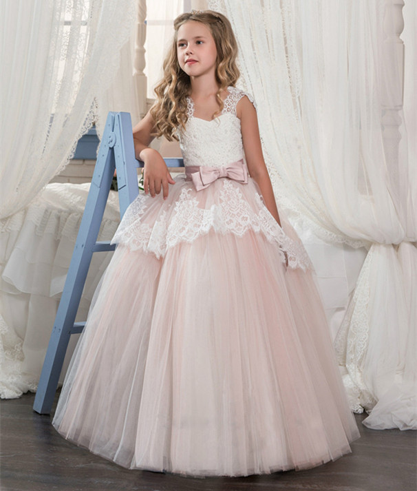 New Flower Girl Dresses Girls Ball Gown for Wedding Solid Formal First Communion Gowns Custom Made Vestido Longo цена