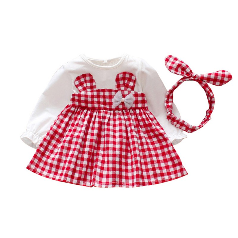 Baby Dress For Girl Long Sleeve Princess Dresses Lovely Pattern Baby Party Dress with Headband Kids ClothesBaby Dress For Girl Long Sleeve Princess Dresses Lovely Pattern Baby Party Dress with Headband Kids Clothes