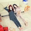 Manga comprida Moda femme Mulheres Com Decote Em V Sleepwear Nightwear Pijama para conjuntos de Pijama para as mulheres do sexo feminino de Malha de Algodão pijamas Terno
