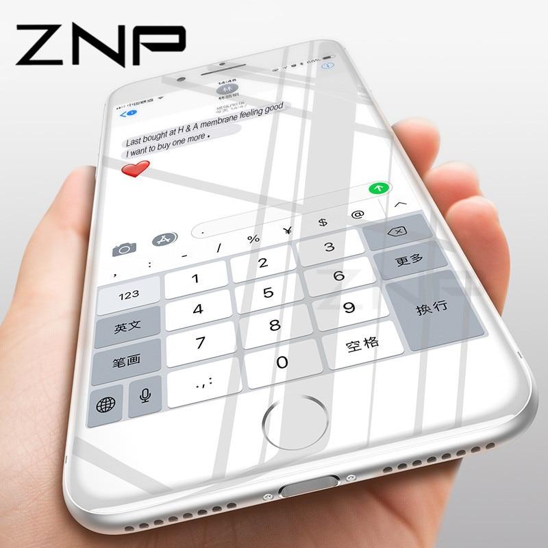 ZNP 5D Curvo Protezione Dello Schermo Per il iphone 8 7 Plus Bordo Pieno rotonda In Vetro Temperato Per il iphone 7 8 Plus Temperato Pellicola di Vetro 5D