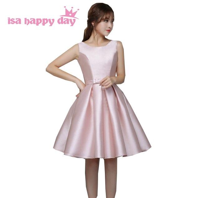 new arrivals 2020 winter prettygirl short bridemaid dresses knee length satin bridesmaid party dress for wedding guest H3823