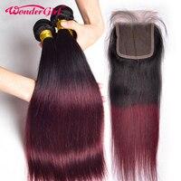 1B 99J Brazilian Straight Hair 3 Bundles With Closure Ombre Human Hair Bundles With Closure Non