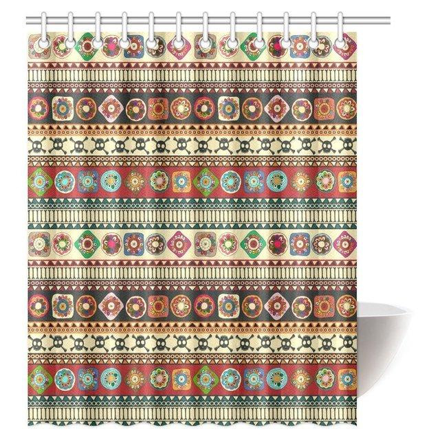 Aplysia Native American Shower Curtain Geometric Triangle Aztec Tribal Motifs And Zig Zag Folk Ethnic Bath Curtains