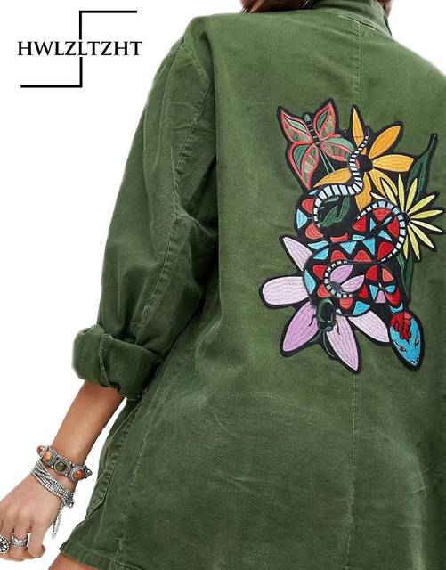 f765b52f2ec 2017 Autumn Embroidery Army Green Bomber Jacket Parker Women Basic Jacket  Coats Single Breasted Woman Plus