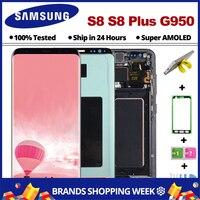 AMOLED S8 Дисплей для samsung Galaxy S8 ЖК дисплей с каркасом G950F G950 G955 S8Plus Сенсорный экран планшета в сборе с рамкой