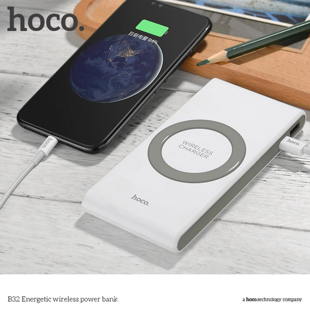Wireless Battery Charger Us 26 62 25 Off Hoco Power Bank 8000mah Portable Mobile Phone Wireless Charger Qi Standard External Battery Charger Powerbank Supply For Iphone In