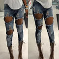 Women Slim Denim Pants Boyfriend Jeans Trousers High Waist Women Ladies Pants Jeans Destroyed Distressed