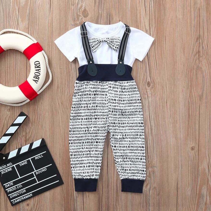 MUQGEW Childrens Clothes Infant Baby Boys Summer Gentleman Bowtie Short Sleeve Shirt+Overall Pants Sets Summer 2018