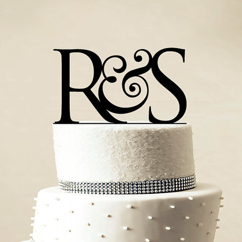 Custom Wedding Cake Topper Personalized Monogram Black Gold Silver Cake Topper Initial Cake