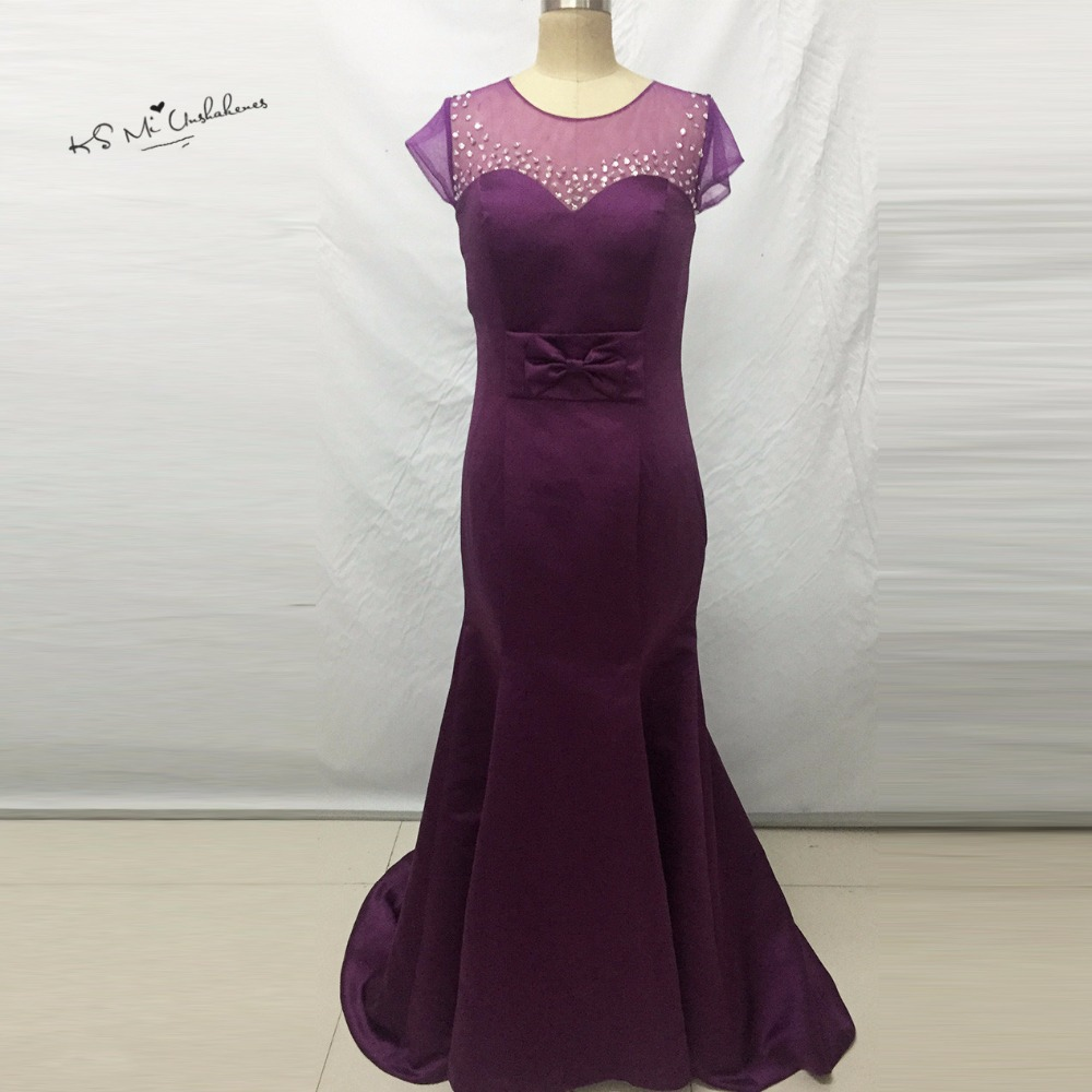 Hot Sell African Bridesmaid Dresses Mermaid Purple Wedding Guest Dress  Vestido Longo Madrinha Cap Sleeve Bow Brautjungfernkleid