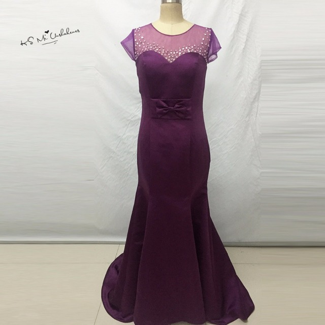 6c490bebbf Hot Sell African Bridesmaid Dresses Mermaid Purple Wedding Guest Dress  Vestido Longo Madrinha Cap Sleeve Bow