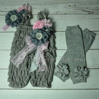 4 set /lot Gray Baby Girl Lace Romper Matching Headband Leg Warmers and clip birthday outfits