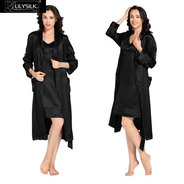 ad356e8a6a8 Camisón de Seda Lilysilk Femme Robe Set Lencería Sexy ropa de Noche de la  dama de