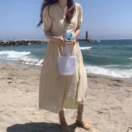 女性夏のセクシーな V ネックロング A ラインのシャツドレス女性ハイウエストフリル vestidos ベルトローブフェムセクシー Ete Jurken AE461