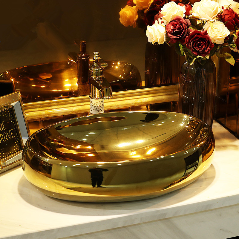 Permalink to Europe style luxury bathroom vanities chinese Jingdezhen Art Counter Top ceramic oval with gold ceramics vanity basin