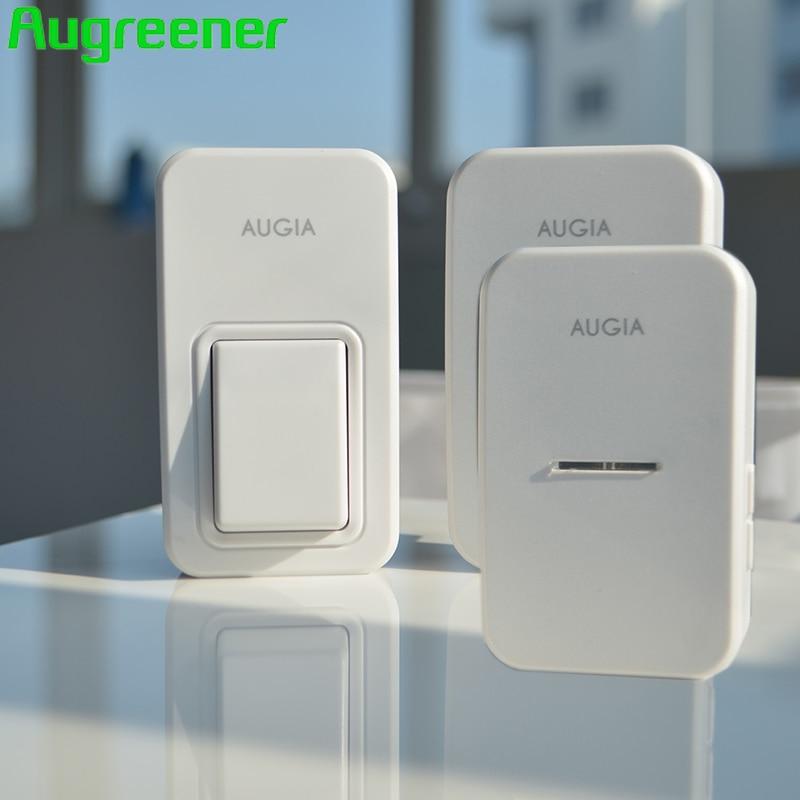 2017 Augreener 1 Button Doorbell Wireless with 2 Receivers Waterproof Home Tunes <font><b>Ding</b></font> <font><b>Dong</b></font> Door Ring EU UK US AU Plugs <font><b>Bell</b></font>