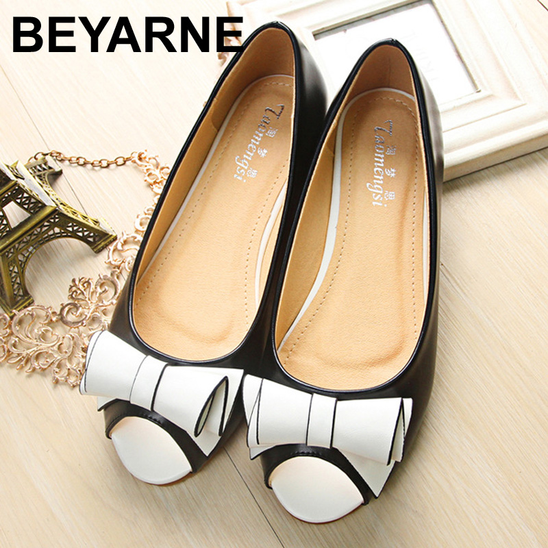 2016 new fahion shoes woman flat open toe women flats Cute Bow soft soles  Casual shoe for girls 34 43-in Women s Flats from Shoes d97ed368fa02