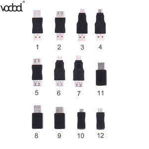 Image 2 - 12 sztuk adaptery USB zestaw 12 w 1 OTG USB2.0 Mix adaptery zestaw OTG F/M mini konwerter adapter męski na żeński adapter micro USB zestaw