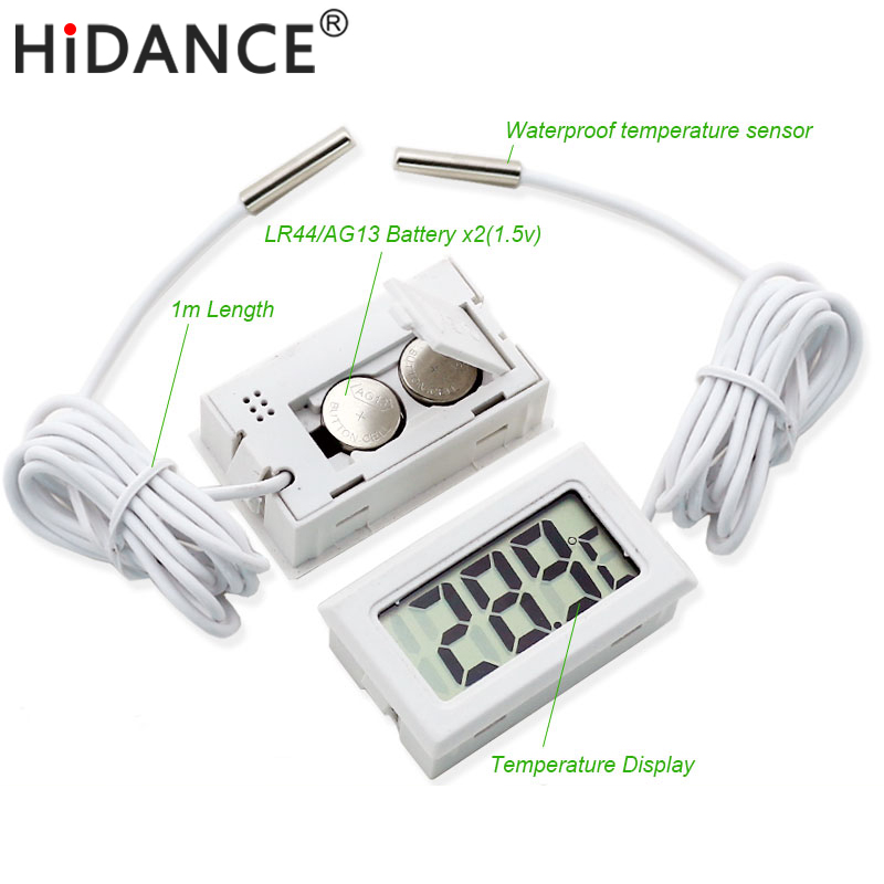 HiDANCE LCD Digital thermometer thermal car electronic temperature instruments waterproof sensor probe weather station meter az 8891 digital wall mounted waterproof thermometer w long probe boiler water temperature meter tester