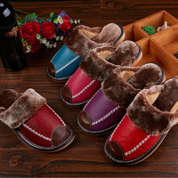Mntrerm Winter Men's Slippers Genuine Leather Home Indoor Non-Slip Thermal Shoes Men 2018 New Warm Winter Slippers Plus Size 5