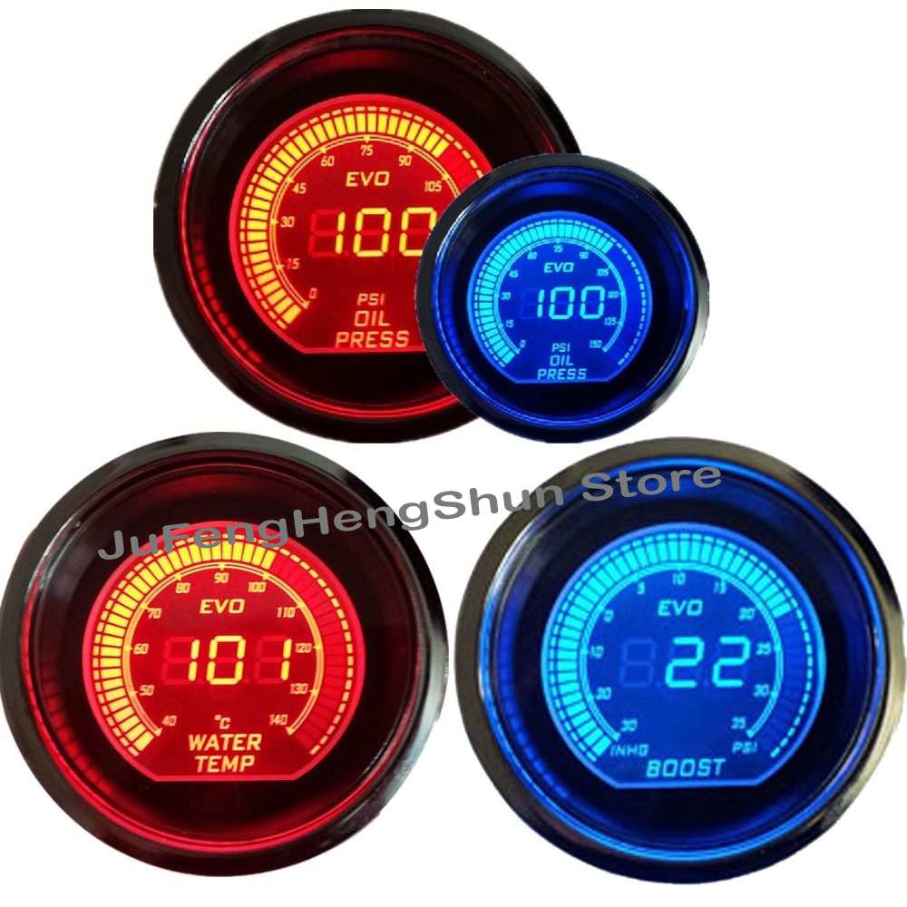 2 52mm Car Turbo Boost Gauge + Oil Press / Pressure Psi + Water Temp / Temperature Meter Blue Red LED 12V Auto Digital Gauge