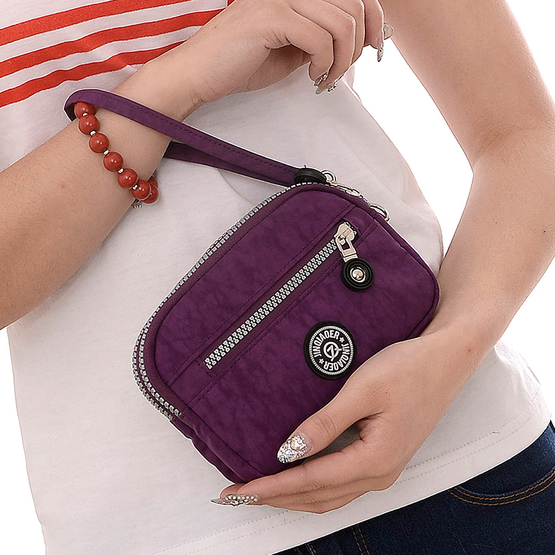 Mini women wallets multi-layer fashion clutch handbag clutch coin purse nylon cloth double zipper mobile phone bag