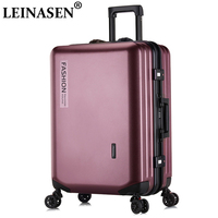 LEINASEN Popular fashion rolling luggage 20 22 24 26 inch brand carry on box men travel suitcase women trolley luggage zipp